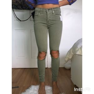 Free People Olive Green Jeans